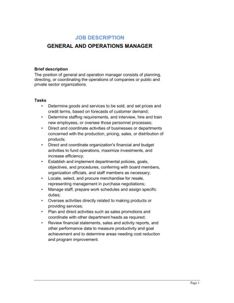 General And Operations Manager Job Description Template Sle Form Biztree Com Manager Description Template