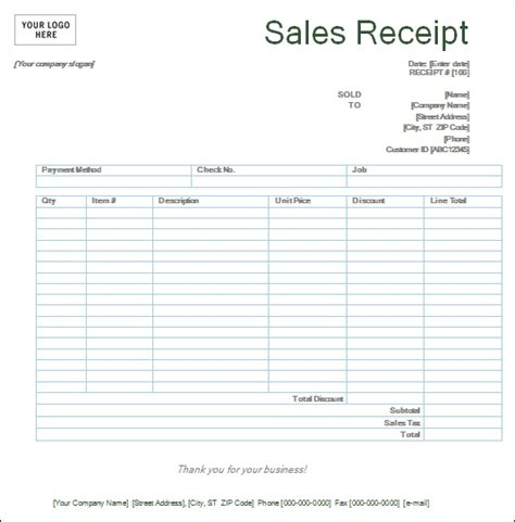 top 5 layouts for sales receipt templates word templates