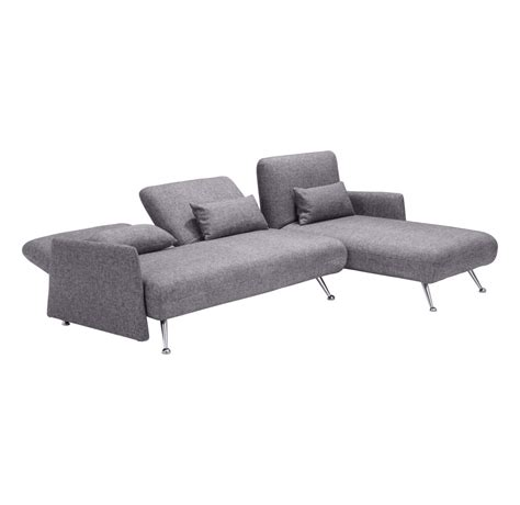 Grey Sectional Sleeper Sofa by Zuo Modern Bizard Sleeper Sectional Sofa Ash Grey Disc