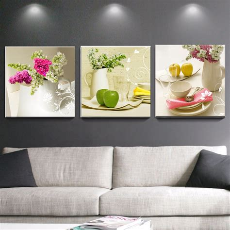 decorative floral accents wall ornament decoration for aliexpress com buy 3 pcs canvas paintings for kitchen