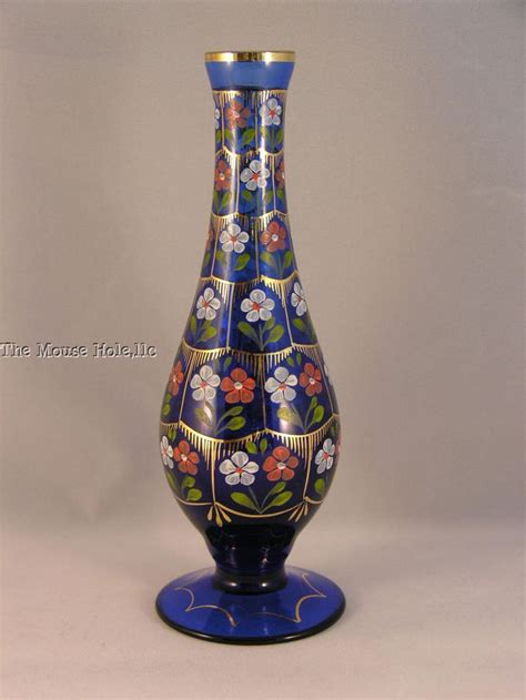 Hand Vase Signed Cobalt Blue Hand Painted Pasabahce Istanbul Turkey