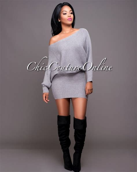 The Mini Debate Couture In The City Fashion by Chic Couture Renee Grey Sleeves Mini Sweater