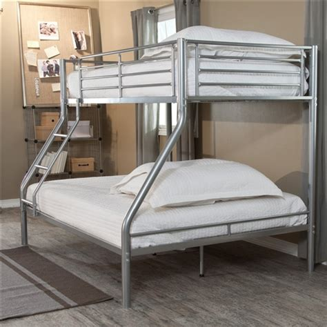 modern size bunk bed in silver metal finish