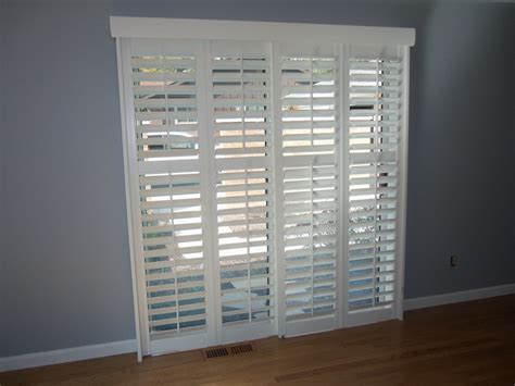 Patio Door Shutters Traditional White Wooden Frame Plantation Shutters For Sliding Glass Patio Door Placed On Gray