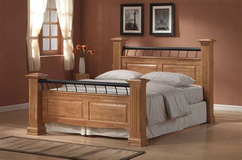 wooden bed frame with headboard and footboard bed