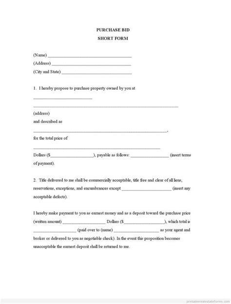 Sealed Bid Form Template shorts on