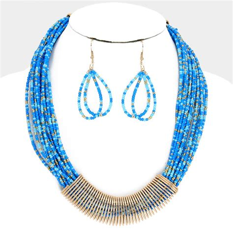 multi strand beaded necklace gold and blues beaded multi strand coil statement necklace