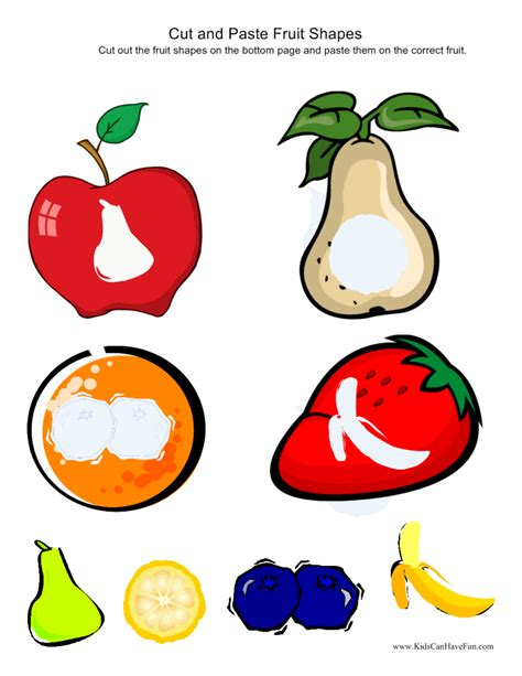 printable fruit and vegetable shapes cut out and paste worksheets for kindergarten birthday
