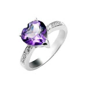 1 50 Carat Amethyst Gemstone Engagement Ring On Silver Citrine Wedding Rings