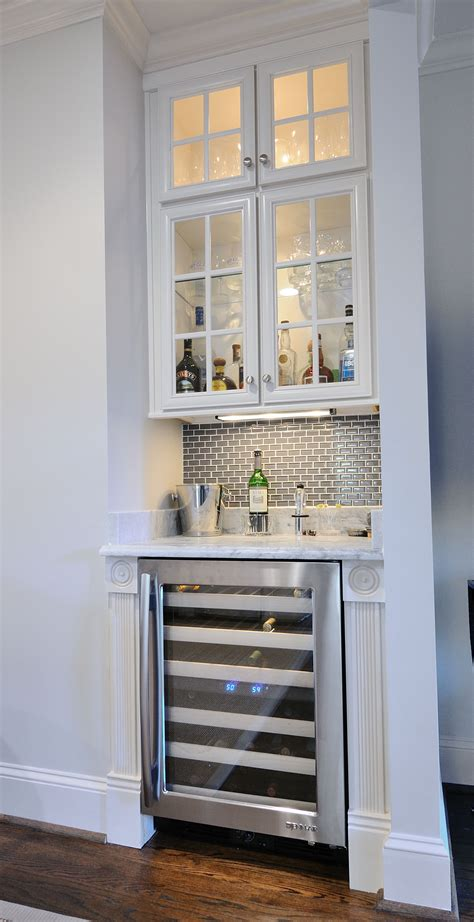 built in wet bar cabinets with pearl gray marble wet bar by atlanta kitchen tile