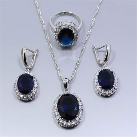 top quality 925 sterling silver blue sapphire jewelry set