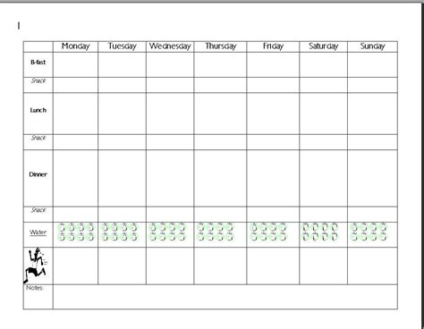 great  day meal planner template save   word   enable printing full size health