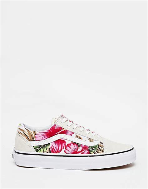 vans fiori vans vans skool scarpe da ginnastica bianche a