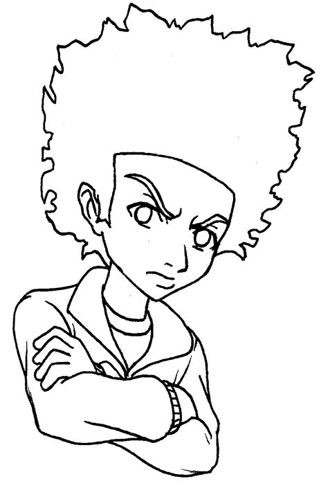 Black And White Pictures To Color With Cartoon And Animal Boondocks Coloring Pages
