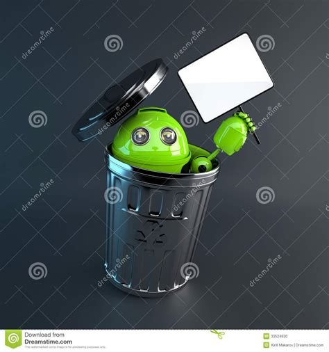 android trash bin android inside trash bin electronic recycle concept stock photo image 33524630