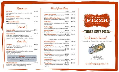free pizza menu template pizza restaurant menu template