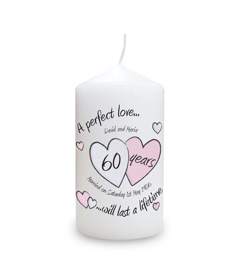 a perfect love diamond anniversary personalised candle