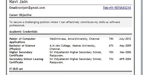 career objectives for freshers mca fresher resume format