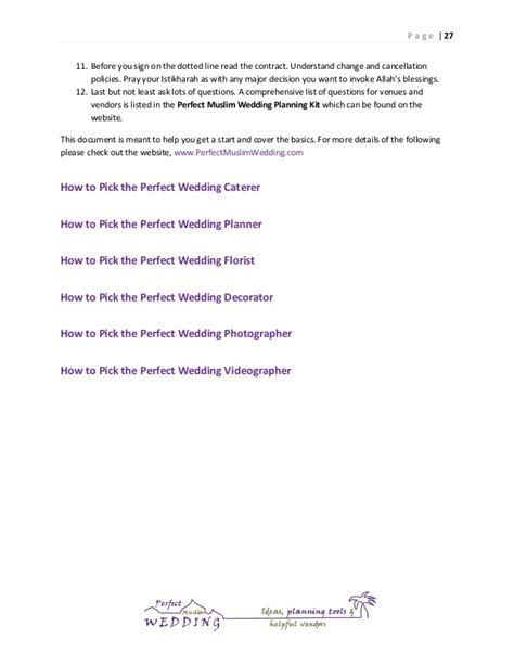 Letter Cancelling Wedding Venue Muslim Wedding Planning Guide