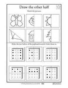 1st grade 2nd grade math worksheets draw the other half