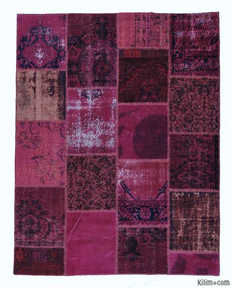 Overdyed Patchwork Rug - dyed turkish patchwork rug k0004827 finest kilims