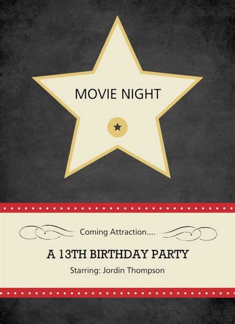 free templates for hollywood invitations hollywood star movie night invite by purpletrail com me