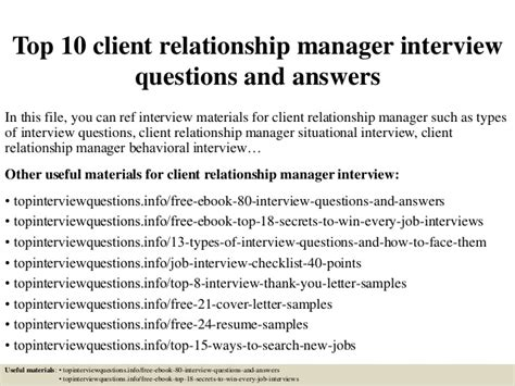 7 Relationship Questions Answered by Top 10 Client Relationship Manager Questions And