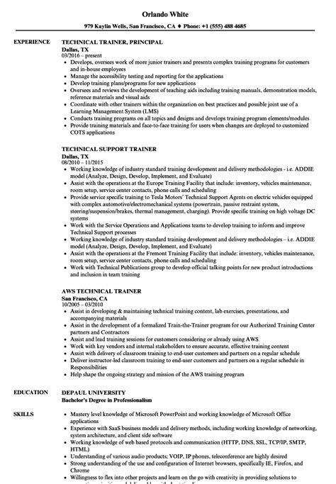 resume format for technical trainers trainer technical resume sles velvet