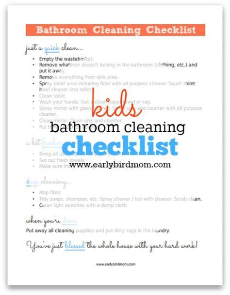 bathroom cleaning supplies list kids printable bathroom cleaning checklist