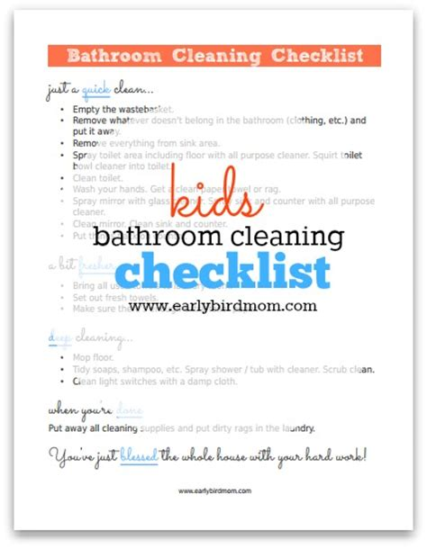 Free Kid's Bathroom Cleaning Checklist Printable   Money
