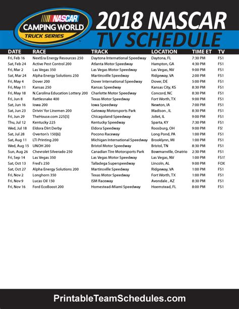 truck schedule 2015 2015 nascar cing truck schedule