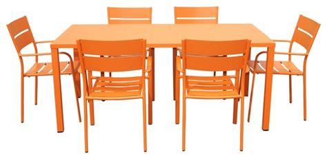 Contemporary Patio Dining Set by 7 Piece Patio Dining Set Orange Contemporary Outdoor