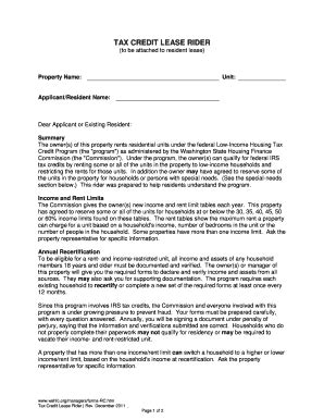 Hud Tax Credit Lease Riders Fill Online Printable Fillable Blank Pdffiller Lease Rider Template