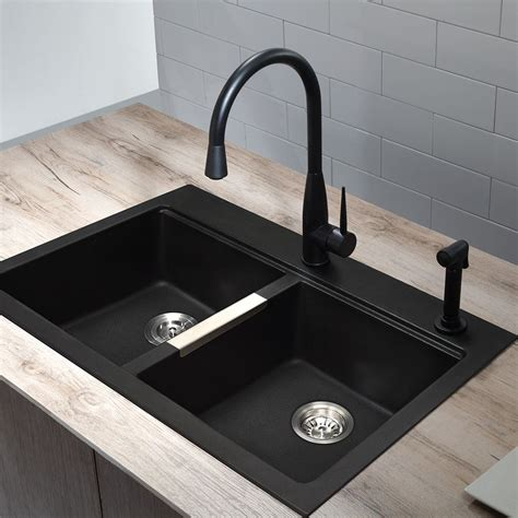 black kitchen sink faucets shop kraus kitchen sink 22 in x 33 in black onyx basin granite drop in or undermount 1