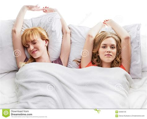 two women in bed two girls at bed stock photo image 62666726