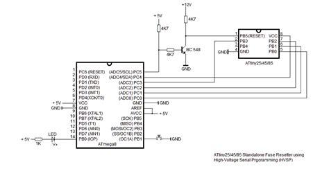 software reset in avr attiny standalone fuse resetter using hvsp