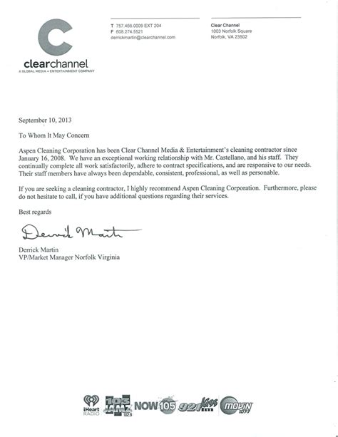 Recommendation Letter Janitorial Position Reference Letter For Cleaning Supervisor Cover Letter Templates
