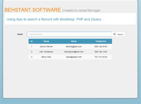Search Php Autocomplete Tutorial To Find A Record With Ajax And Jquery Ui