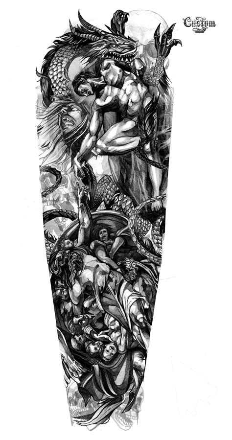 designing a tattoo sleeve template design artwork custom design идеи