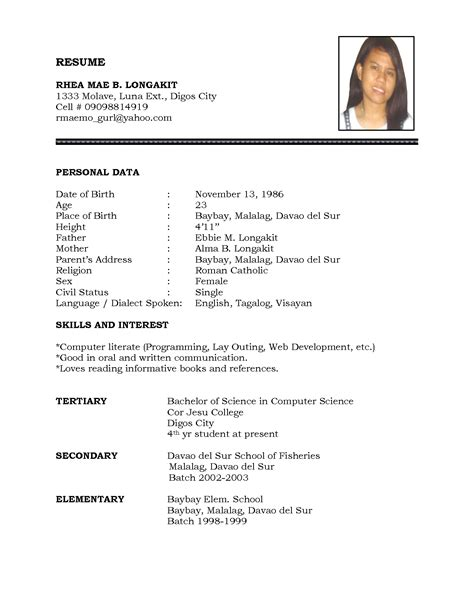 Resume Sample For Job resume for job simple format of resume for job resume template