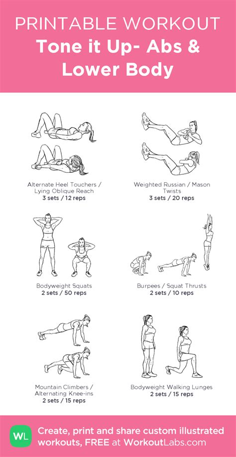 tone   abs  body illustrated exercise plan