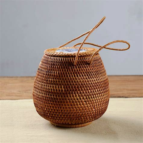 small wall wicker basket baskets buckets boxes pu er tea basket rattan storage box with lid square