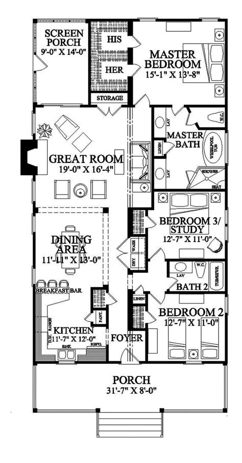 narrow lot floor plans narrow lot roomy feel hwbdo75757 tidewater house plan from builderhouseplans gut