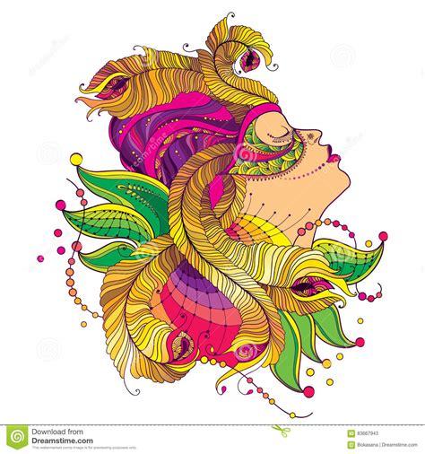 la pluma de oro arte cara de la muchacha del perfil del vector en m 225 scara del carnaval con las plumas de oro del pavo