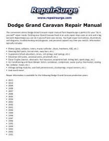 2011 Dodge Grand Caravan Service Manual Dodge Grand Caravan Repair Manual 1990 2011