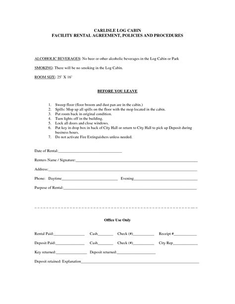 Rent Lease Form Bamboodownunder Com Facility Rental Agreement Template Word