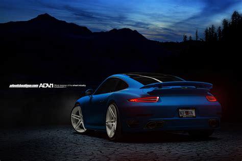 matte blue porsche porsche 991 turbo s adv05 m v2 cs gloss white