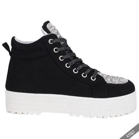 fashion platform sneakers womens diamante flat platform fashion sneakers high tops
