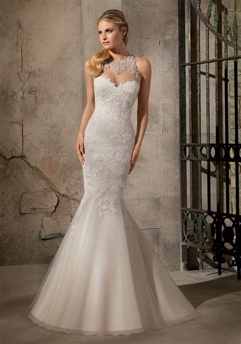 artistic wedding dresses appliques on net with crystals wedding dress style 2723