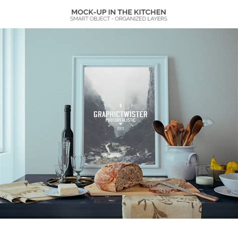Bathroom Decoration Using Wall frame mock up in the kitchen psd file free download